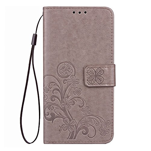 "MOONCASE iPhone X Coque, [Embossed Pattern] Support Flip Cuir Housse Anti-choc TPU Protection Etui Cases pour iPhone X 5.8"" Gris Gris"