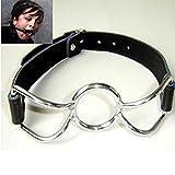 Extasialand Spider Ring Stahl-Knebel mit Lederriemen Mundknebel BDSM Gag Bondage SM