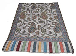 Sofias Cashmere Kani Jamavar Replica Medium Shawl,Size-70 cms x 200 cms,White...(New)