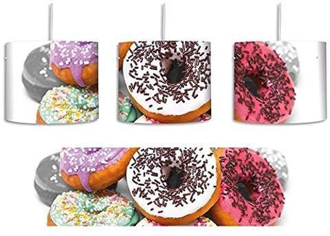 Donut mit Glasur und Liebesperlen schwarz/weiß inkl. Lampenfassung E27, Lampe mit Motivdruck, tolle Deckenlampe, Hängelampe, Pendelleuchte - Durchmesser 30cm - Dekoration mit Licht ideal für Wohnzimmer, Kinderzimmer, Schlafzimmer