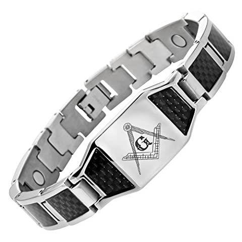 MasonicMan Mens Titanium Masonic Bracelet with Black Carbon Fiber Insets In Velvet Gift Box + Free Link Removal