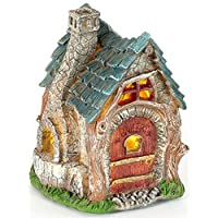 Garden Glows Fairy Dwelling - THE HOME OF JUNIPOR MOONFALL - Fairy Treehouse - for indoor outdoor use - with 3 solar powered LEDs