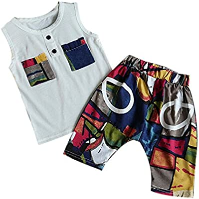 SMARTLADY 3~7 año Niño Ropa Conjuntos de top y pantalones cortos del Pintada de la Historieta