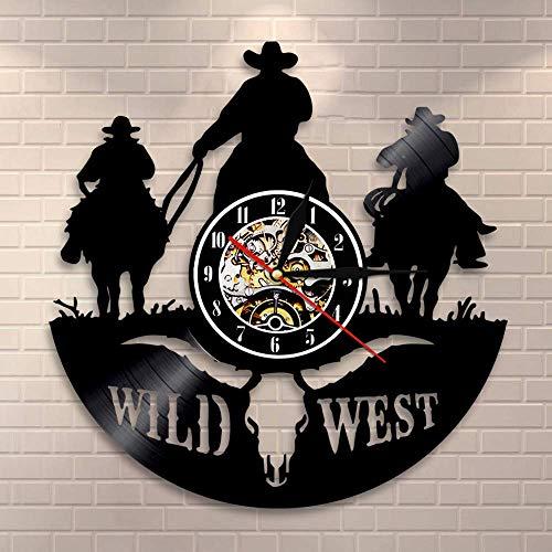 tern Cowboy Wanduhr aus Vinyl Schallplattenuhr Upcycling Familien Dekoration 3D Design-Uhr Wohnzimmer Schlafzimmer Restaurant Wand-Deko Kunst Geschenk/Durchmesser 30 cm ()