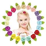 MHJY Blumen Haarspangen Mädchen 20 Stk 4.5cm Haarklammern Klein Fühlte Blumen Metal Haarklammer Alligator Handgemachtes Bunte Blumenclips für Kleinkind Kinder Mädchen
