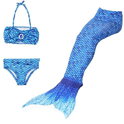 Yigoo Mädchen Cosplay Kostüm Badebekleidung Meerjungfrau Shell Badeanzug 3pcs Bikini Sets Tolle Geschenksidee Blau ()