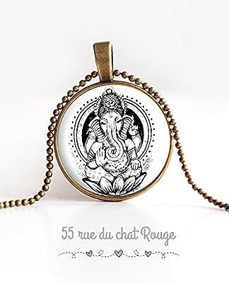 Collier avec pendentif cabochon verre Dieu hindou, portrait de Ganesh, dieu hindi Ganesh, Inde, Indonésie