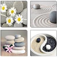 Visario 6607 - Fotografía sobre lienzo (4 piezas, 4 x 30 x 30 cm), diseño de piedras zen