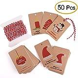 Kuuqa 50 pedazos de etiquetas de regalo de Navidad de papel Kraft para la etiqueta de envoltura de regalo de Navidad con cuerda colgante, 5 diferentes diseños