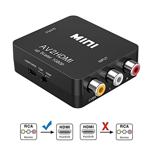 RCA auf HDMI Adapter | GANA AV auf HDMI Konverter AV zu HDMI Adapter Unterstützung 1080P mit USB Ladekabel für PC/Xbox/PS4/PS3/TV/STB/VHS/VCR/Kamera/DVD(Schwarz) (Video-kamera-unterstützung)
