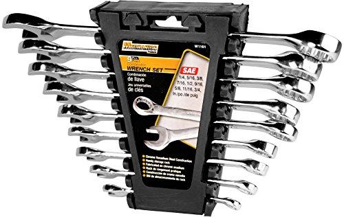 Performance Tool W1191SAE poliert Combo Schraubenschlüssel-Set, 9-tlg. mit Rack