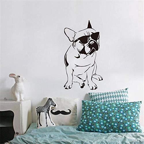 Lustige Französisch Buldog Decals Kinderzimmer Vinyl Wandaufkleber Hund Mit Sonnenbrille Nette Schlafzimmer Tapeten Home Deco 33x59 cm