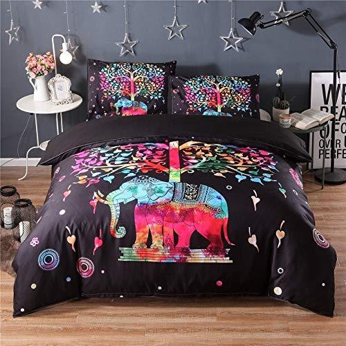 JSDJSUIT Bettwäsche-Set 3 stücke Bunte Elefanten Schwarz Bettwäsche Set Königin König Twin Size Böhmischen Bettbezug Mandala Bett Set Animal Print Quilts Tagesdecke, EU Einzigen 2 stücke