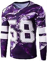 EKU Men's 3D Printing Quick Dry Athletic T-Shirt Tops US M Purple