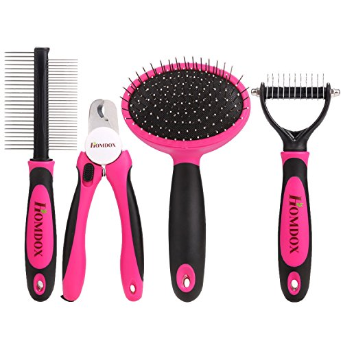 homdox-4-pieces-professional-dog-grooming-kit-nail-clipper-slicker-brush-double-sided-comb-open-knot