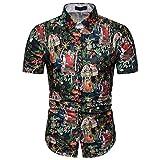 Xmiral Camicia Hawaiana da Uomo e Costume da Bagno,3D Uomini Tronchi Casuale Manica Corta Maglietta per la Spiaggia (L,7- Nero)