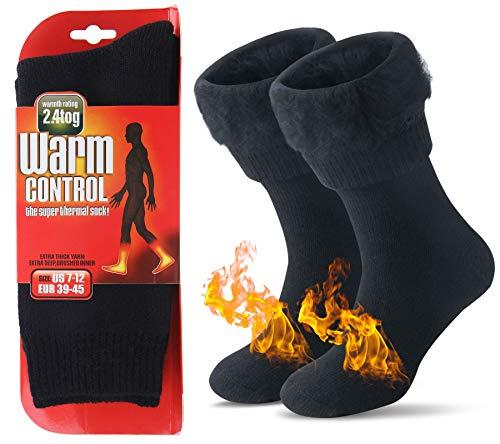 JARSEEN Warme Winter Thermosocken mit Vollplüsch und Wolle Dicke Weiche Stiefel Socken Damen Herren (Neu Schwarz, L/Herren 39-45; Damen 40-45)