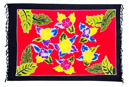 Blume Rot Sarong Pareo Wickelrock Strandtuch Schal Tuch Lunghi Wickelkleid + Schnalle (Tunika Bali Baumwolle)