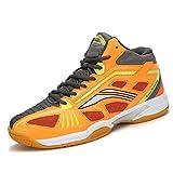 katliu Herren Damen Hallenschuhe Mesh Atmungsaktiv Badmintonschuhe Indoor Sport Fitness Turnschuhe Volleyball Tennis Squash Schuhe Orange,45 EU