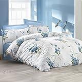 Lavinya 100% Baumwolle Bettbezug Bettwäsche Set Bettwäsche wendbar lila Blumen, 100 % Baumwolle, türkis, Doppelbett