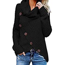 VECDY Sudadera Pullover Camisa Superior botón De La Mujer Irregular Color Sólido Sudadera De ...