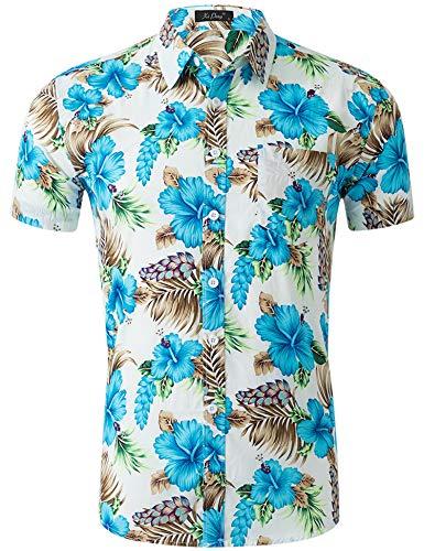 Loveternal Herren Sommer Kleidung Hippie Casual Blumen Hawaiihemd Herren Slim Fit Grillparty Kurzarm 3D Shirts L -