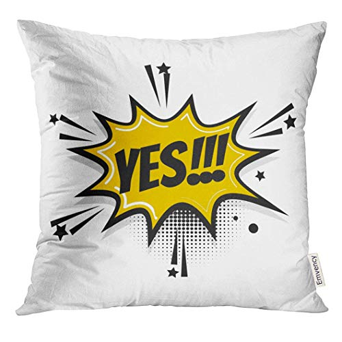 omics Book Pop Balloon Lettering Vintage Yes Boom Star Bubble Speech Phrase Cartoon Exclusive Label Tag Decorative Pillow Case Home Decor Square 18x18 Inches Pillowcase ()
