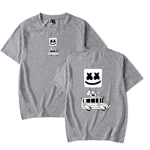 Obst Loom Farben (RUIXIAO DJ Marshmello Marshmallow Print Kurzarm-T-Shirt für Männer mit losem Rundhalsausschnitt. Hochwertiges, atmungsaktives Baumwoll-T-Shirt,Gray,S)