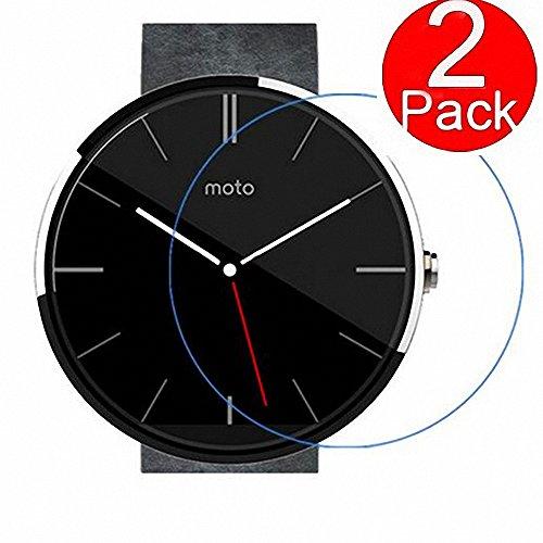 G-Hawk®[2 X] Hartglas Bildschirmschutz für Motorola Moto 360 2 46mm, 9H Härte 2.5D Schutzglas Folie Easy Install Kit Schutzglas Folie[Lifetime Warranty]