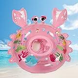 Bestllin Bain pour bague Carton Crabe bébé piscine flotteur Bague de bateau avec bain de sécurité Poignées pour enfants avec des matériaux respectueux de l'environnement pour bébé (Rose)...