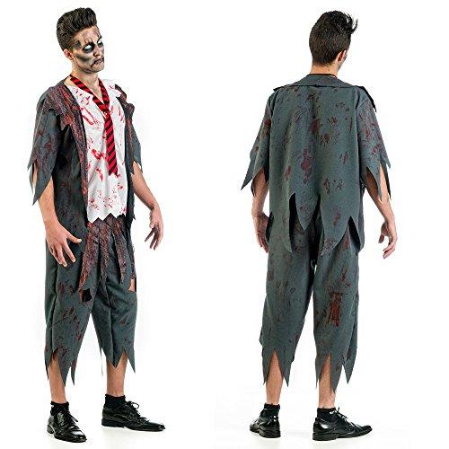 3 teiliges Zombie Herren Kostüm Schuljunge Schüler Blut Horror Halloween Karneval Gr. (Schuljunge Halloween Kostüm)