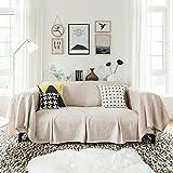 DN&YAN Staubschutz sofagewebe, EIN stück Vintage Volltonfarbe Sofa Deckel Tuch, All-Inclusive- Anti-rutsch Möbel Schutz Deckel 1 2 3 4 Matte Sofa-E 210x260cm(83x102inch)
