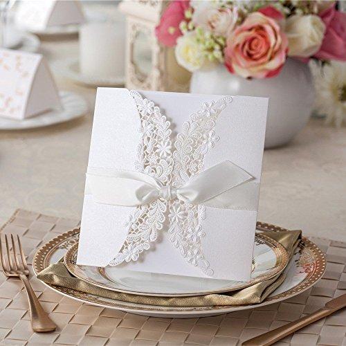vstoy Laser geschnitten Flora & Lace Hochzeit Einladungen, mit Bänder 20Stück