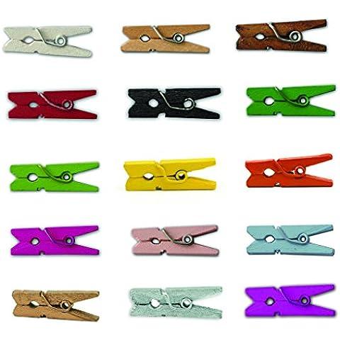 LWR Crafts–Mini mollette in legno 15colori 100pezzi 1