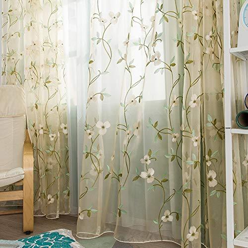 Valance Balkon-Boden-Gaze-Vorhang, Bestickte Gardinen, Country-Stil Schlafzimmer Wohnzimmer Bay-Fenster Bildschirm 1 Scheiben-grün 150x270cm(59x106inch) -