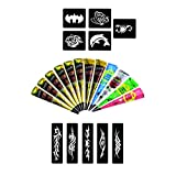 Wonder Care Hennacart Kaveri Mehndi Cones with 10 Piece Stencil Set (6 Black 2 Maroon White Blue Green Red)