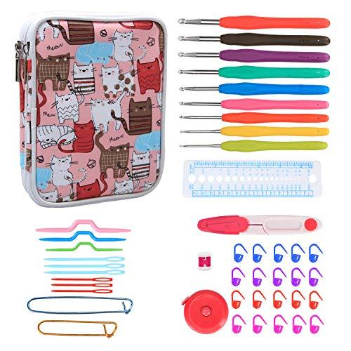 Teamoy Serie de Crochet Kits de Ganchillo Estuche para Crochet Organizador de Agujas Bolsa de Herramientas Juego del Ganchos (incluido accesorios),gato rosado