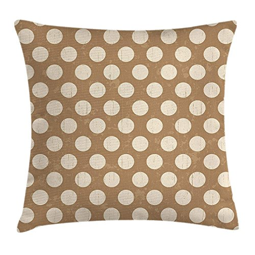 Tan Throw Pillow Cushion Cover, Big Polka Dots on Grunge Backdrop Off White Shabby Simple Old Fashioned Distressed Retro, Decorative Square Accent Pillow Case, 18 X 18 Inches, Tan Cream Square Double Old Fashioned