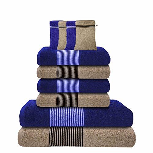Liness-Stripes 10 tlg Handtuch-Set 4 Handtücher 50x100 cm 2 Duschtücher Badetücher 70x140 cm 4 Waschhandschuhe Waschlappen 16x21 cm 100% Baumwolle blau beige-creme
