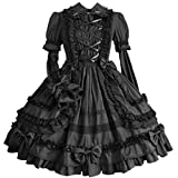 Partiss Damen Langarm Multi Layer Suesses Gotisches Lolita Kleid, XXL, Black