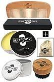 """Bartpflege-Set """"GLATTMACHER"""" von BARTFORMAT - Runde Bartbürste (Wildschweinborsten) + Bart Balsam + Bartkamm (Birnbaumholz) - Für die Tägliche Bartpflege - Ideal als Geschenk"""