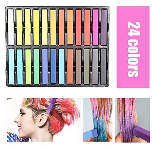 Wudi Die temporäre Farbstoff Chalk 24 Haarfarbe von ungiftigem Stick Farbe Bleistift für Halloween, Weihnachten, Party, Cosplay (Kinder Halloween-farbstoffe Für)