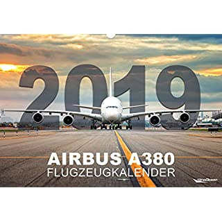 Airbus A380 Flugzeugkalender 2019 | Luftfahrt-Faszination mit dem Giganten der Lüfte | 12 Airlines | Großformat ca. 49 cm x 34 cm (B x H)