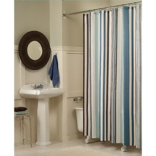 Lommer Duschvorhang, 180x220CM Polyester Antischimmel Wasserdicht Duschvorhang Waschbar Badvorhang Fenster mit 12 Ring Badzimmer Zubehör, Blau Braun und Weiß
