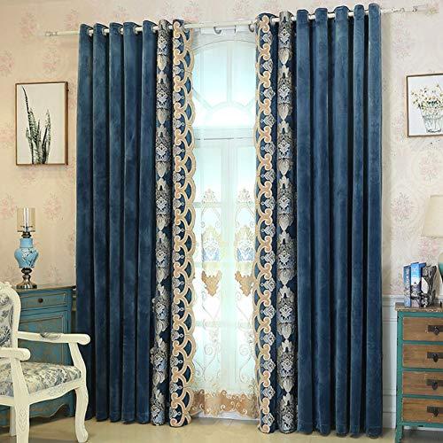 Fafegvcfds tende oscuranti per interni termiche isolanti con occhielli per camera da letto - tende per soggiorno camera da letto set di 2 set 150 * 267 cm (larghezza * altezza) blu