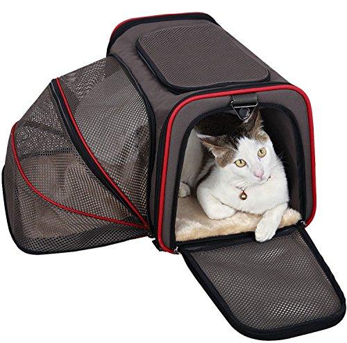 Transporttasche für Haustiere Erweiterbarer für Hunde und Katzen Faltbarer Weicher und Träger, Autositz Draussen Reisen Großer Raum für Reise mit dem Zug, Auto oder Flugzeug Braun (M-Braun)