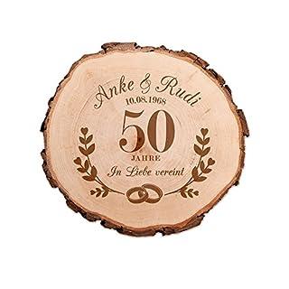 Casa Vivente Baumscheibe mit Gravur zur Goldenen Hochzeit – Personalisiert mit [Namen] und [Datum] – In Liebe vereint – Türschild – Wanddeko – Geschenkidee für Ehepaare zum 50. Hochzeitstag