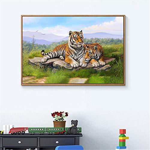 Leinwanddruck Tiger Poster Moderne Dekoration Kunst Home Animal Print Leinwand Gemälde Tiger Gras Liegen Kunst Badezimmer Wc Dekor 50Cmx70Cm -