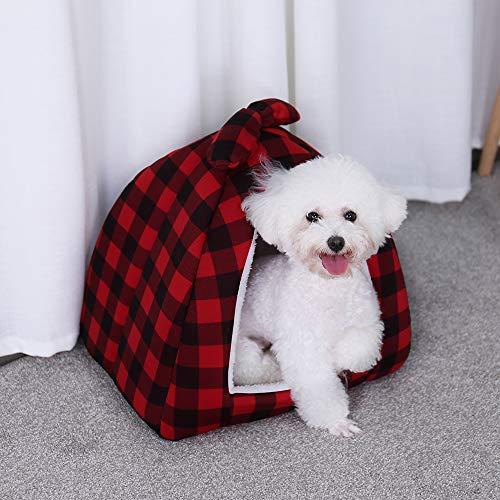 Ohana Plaid Igloo Cama de Gato Polar pequeño Perro casa Cama Elegante...