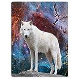 YISUMEI Decke 150x200 cm Kuscheldecken Sanft Flanell Weich Fleecedecke Bettüberwurf Wolf Weiß Galaxy
